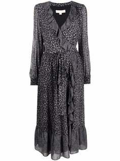 Michael Michael Kors платье с запахом и леопардовым принтом