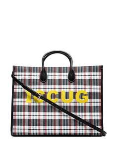 Gucci клетчатая сумка-тоут с вышивкой Iccug
