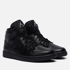 Женские кроссовки Jordan Air Jordan 1 Mid Snakeskin, цвет чёрный, размер 38 EU