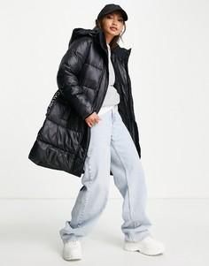 Черный удлиненный пуховик с логотипом напоясе Calvin Klein Jeans-Черный цвет