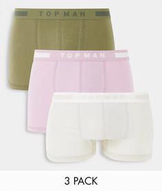 Набор из 3 боксеров-брифов цвета хаки и серого цвета Topman-Зеленый цвет