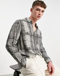Серая рубашка с длинными рукавами и принтом пейсли Topman-Черный цвет