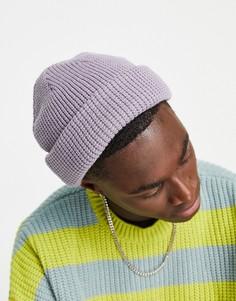 Сиреневая шапка из переработанного смесового полиэстера с вафельной фактурой Topman-Фиолетовый цвет