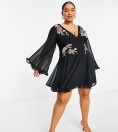 Черное мягкое платье мини с вышивкой, юбкой годе и расклешенными рукавами ASOS DESIGN Curve-Черный цвет