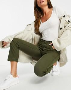 Прямые укороченные джинсы из мягкой парусины оливкового цвета в утилитарном стиле с завышенной талией Levis 724-Зеленый цвет