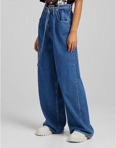 Синие широкие джинсы с завязками Bershka-Голубой