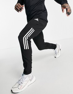 Черные джоггеры с тремя полосками adidas Training-Черный цвет