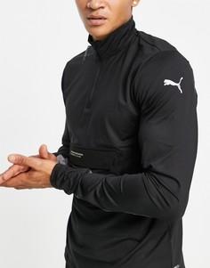 Черная куртка с короткой молнией 1/2 Puma Running Cooladapt-Черный цвет