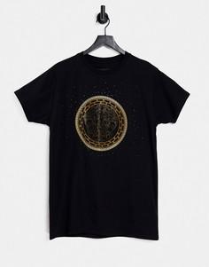 Черная футболка со львом из страз Siksilk-Черный