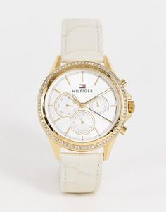 Женские часы с белым кожаным ремешком Tommy Hilfiger Ari-Белый