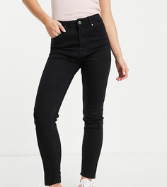 Черные зауженные джинсы с завышенной талией Bershka Petite-Черный цвет