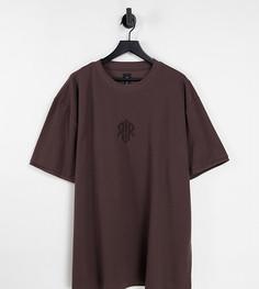 Коричневая футболка классического кроя из вафельного трикотажа River Island Big & Tall-Коричневый цвет