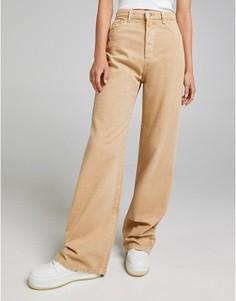 Широкие джинсы бежевого цвета Bershka-Светло-бежевый цвет