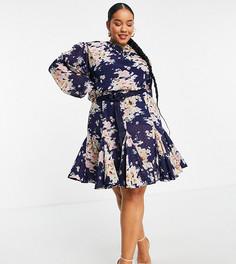 Плиссированное жаккардовое платье мини с высоким воротом, цветочным принтом, плетеным поясом и отделкой в стиле годе ASOS DESIGN Curve-Разноцветный