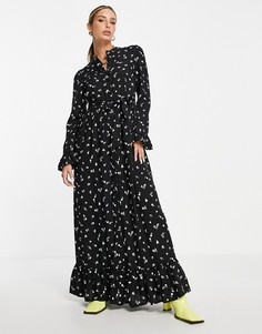Ярусное платье макси черного цвета на пуговицах с цветочным принтом ASOS DESIGN-Разноцветный