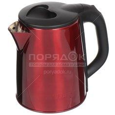 Чайник электрический Gelberk, GL-321, красный, 2 л, 1500 Вт, скрытый нагревательный элемент, металл
