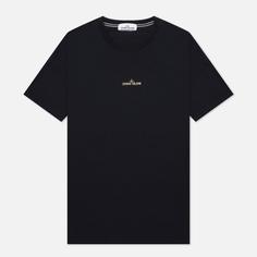 Мужская футболка Stone Island Mixed Media Two Print Slim Fit, цвет чёрный, размер M