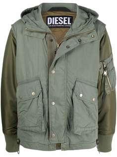 Diesel куртка с капюшоном и контрастными вставками