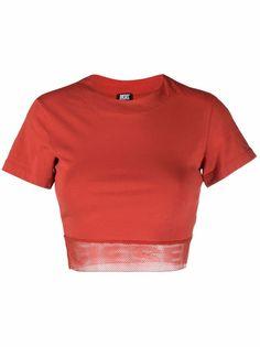 Diesel укороченная футболка с сетчатой вставкой