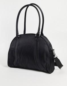 Черная спортивная дорожная сумка в стиле ретро из нейлона с плечевым ремнем ASOS DESIGN-Черный цвет