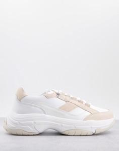 Массивные замшевые кроссовки белого цвета со шнуровкой Calvin Klein Jeans-Белый