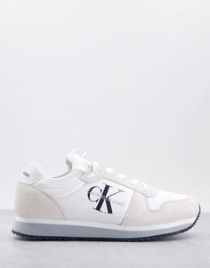 Белые кроссовки с эффектом носка для бега Calvin Klein Jeans-Белый