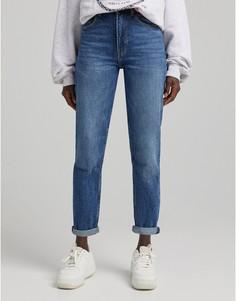 Темные джинсы в винтажном стиле Bershka-Голубой