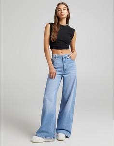 Голубые джинсы с очень широкими штанинами в стиле 90-х Bershka-Голубой