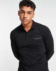 Черная приталенная футболка-поло с длинными рукавами из трикотажа с логотипом-флагом Tommy Hilfiger-Черный цвет