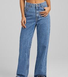 Прямые голубые джинсы с эффектом потертости Bershka-Голубой